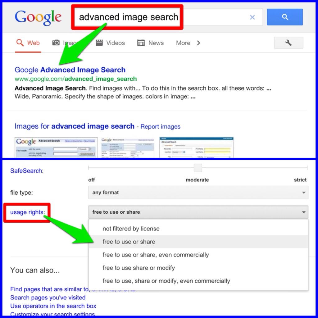 Use advanced image search in Google to find royaltyfree images.